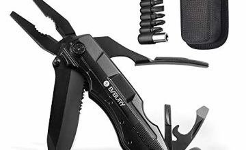 Bibury 5 in 1 Multitools, Foldable Pliers Multitool Stainless Steel Multi Tool, Multi-Purpose Pliers with Nylon Pouch Ideal Pocket Tool for Camping, DIY Activities, Fishing, etc