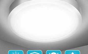 Bathroom LED Ceiling Light,Elfeland Ceiling Light Fitting IP54 Waterproof 18W 1700LM 5000K Natural White 120W Equivalent Round Flush Ceiling Lights for Kitchen Living Room Bedroom and Hallway Ø 22cm