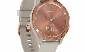 Garmin Vivomove 3S Hybrid Smartwatch, Light Sand Silicone with Rose Gold Hardware