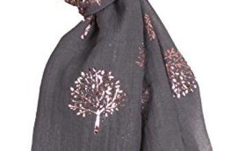 World of Shawls Silver Foil Mulberry Tree Print Fashion Scarf (Black)