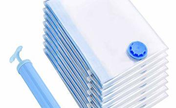 Vacuum Storage Bags Jumbo 8 Pack, Reusable Space Saver Bags Double Zip Seal & Leak Valve, Vacume Pack Storage Bags Jumbo Size for Clothing Bedding Blankets [UPDATED VERSION]