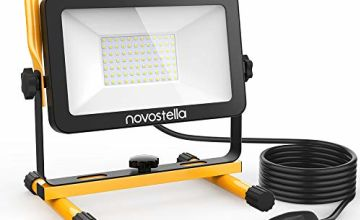 Novostella 20W 60W LED Work Light, 5m Wire with Plug, IP65 Waterproof Site Lights, Outdoor Detachable Stand Floodlight for Workshop, 6000K Daylight