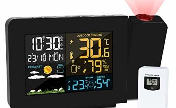 Kalawen Projection Alarm Clock with Outdoor Sensor, Personal Weather Station for Bedroom, Projector Dimmable Clock Dual Alarms LCD Display Date Time Temperature Humidity