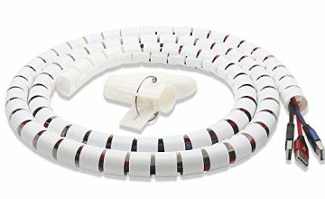 Cable Tidy Wrap 2M Cable Wires Organiser Cable Management PC Cinema TV Cables Sleeve with Cord Organiser (Assorted colours White/ Black)