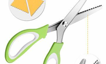 Pinking Shears, BABAN 240mm Professional Dressmaking Scissors Pinking Shears Craft Scissors Zig Zag Scissors Green