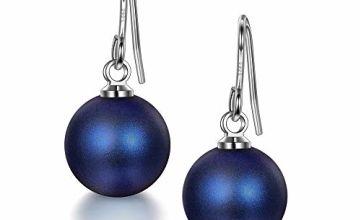 Valentines Gifts, Dark Blue Pearl Earrings, 925 Sterling Silver, Hook Earrings Women