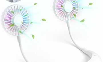 Portable Fans, Hands-Free Lazy Hanging Neck Fan White, Personal Wearable Neckband Fan for Kitchen Cooking, Indoor Outdoor Working, USB Rechargeable Battery Necklace Fan, Strong Airflow Quiet Operation