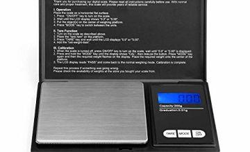 Ascher 200 gram Portable Digital Pocket Scale with Back-lit LCD Display 200x0.01 gram Black