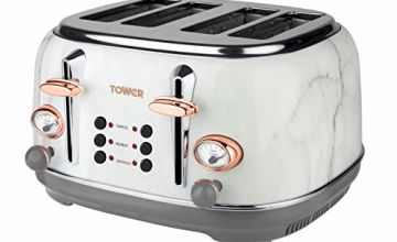 Save on Tower Bottega T20017WMRG 4-Slice Toaster, Stainless Steel with Adjustable Browning Control, Cancel, Defrost and Reheat Settings, Removable Crumb Tray, 1630 W, Marble and Rose Gold and more