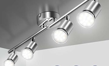 Ceiling Light Fitting, Elfeland 4 Way Pendant Light Ceiling Spotlight Rotatable Swiveling Lamp 4X GU10 Light Bases Angle Adjustable Indoor Lighting for Living Room and Bathroom (Without Light Source)