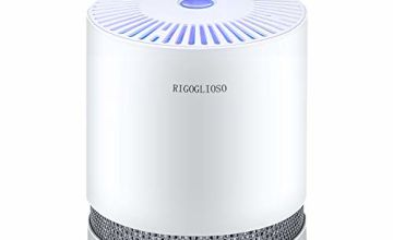 RIGOGLIOSO Air Purifier for Home with True HEPA Filters, Compact Desktop Purifiers Filtration with Night Light, No Ozone, Air Cleaner for PM2.5, Allergies, Pets Dander, Cooking,Smokers,Dust