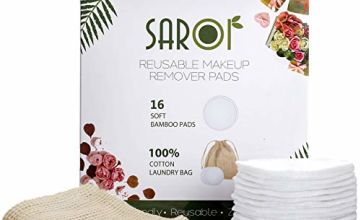 SAROI (Pack of 8,16 or 24) - 16 Reusable Makeup Remover Pads | Eco-Friendly Makeup Wipes | Facial Cleansing Cotton Buds | Eco Friendly Gifts I Packed With A Laundry Bag And Reusable Cotton Pads