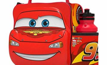 Boyz Toys Disney Pixar Cars 3D Thermal Lunch Bag for Kids at School with Sports Bottle - Insulated Snack Bag for Children with Drinks Bottle - Reusable Tote Cooler Lunch Box