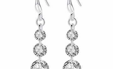 LEVIOLET 925 Sterling Silver Jewellery Hypoallergenic Round Cut 5A Cubic Zirconia CZ Drop Earrings for women