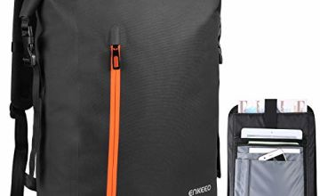ENKEEO Detachable Waterproof Roll Top Backpack 13.4''L * 24.4''H *6.1''W Men & Women Rucksack Casual Daypack with Removable Storage Bag,Safe Back Pocket,Webbing Design for Travel,School,Business