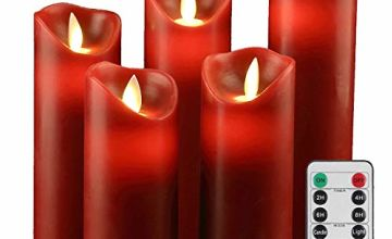 YIWER LED Candles,Flameless Candles Real Wax Battery Candle Pillars, 10 Key Remote Control with 24 Hour Timer Function(Ivory+red)
