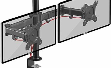 Duronic Dual Monitor Arm Stand DM252 | Double PC Desk Mount | Steel | Height Adjustable | For Two 13-27 Inch LED LCD Screens | VESA 75/100 | 8kg Per Screen | Tilt -90°/+35°, Swivel 180°, Rotate 360°