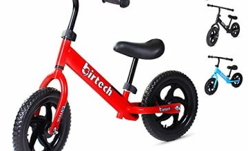 """12"""" Balance Bike Carbon Steel Frame No Pedal Walking Balance Bike Training Bicycle for Kids and Toddlers 2- to 6 Years Old (red)"""