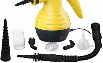 Comforday Handheld Pressurized Steam Cleaner -Multi-Purpose Steamer with 9-Piece Accessories for Multi-Surface Stain Removal, Floor Steamer, Window, Counters, Carpets, Curtains, Car Seats, & Much More (Yellow)