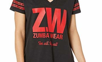 STRONG by Zumba 126 Women's Fashion Print V-Neck Workout Tee Top, Black Bold, M