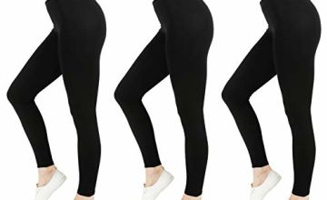 Save on FM London Women's Casual Legging, Black (Black 1), 8 (Pack of 3) and more