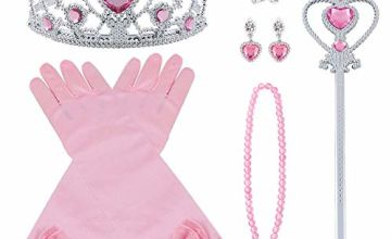 Vicloon Elsa Dress Up Accessories Set of 9, Elsa Gloves, Princess Crown, Ring, Earring, Magic Wand and Necklace