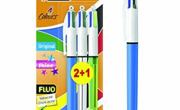 Bic 4Colours Shine Ballpoint Pen 1.0mm Medium Tip Metallic Barrel 4Ink Colours in one Pen Pack of 3