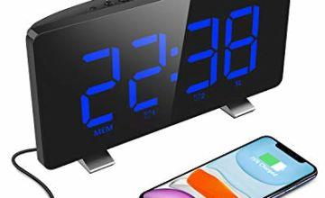 ELEGIANT Digital Alarm Clock, Radio Clock Dual Alarm with Charging Port, 4 Levels Brightness, Adjustable Snooze Time Auto Light Sensor Bedside Alarm Clock with Large Screen for Bedroom Kitchen Office