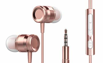 In-Ear Earbuds, JENTXON Noise Isolating Earbuds Headphones with Microphone Stereo Earphones with Mic and Remote Control(Rose Gold)