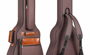 CAHAYA Guitar Bag 41 Inch Guitar Case Waterproof Oxford Cloth Padded Thick Protective Acoustic Guitar Case with Adjustable Double Shoulder Straps (Brown)