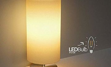 Bedside Table Lamp,TECKIN Minimalist Linen Bedroom Light, LED Modern Nightstand Desk Lamp with Fabric Shade for Bedroom, Living Room, Childrens Room, Office (E27 LED Bulb Included)