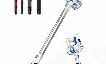 JASHEN Cordless Vacuum Cleaner, Cordless Stick Vacuum Cleaner Wireless Lightweight Handheld Vacuum Cleaner 2 in 1 with Rechargeable Lithium Battery & LED Brush for Floor Carpet Pet Hair Car (Blue)
