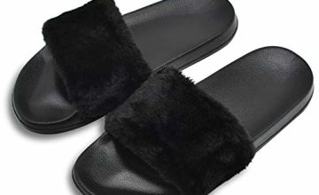 COFACE Women's Slippers Soft Slide Flat EVA Sandals with Warm Fluffy Faux Fur