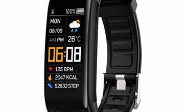 NYZ Fitness Tracker Watch, IP67 Waterpfoof Activity Tracker (Pedometer, Steps Calories Counter, Sleep Heart Rate Monitor) Slim Smart Bracelet Health Sport Bands Gift for Women Men Kids(New Version