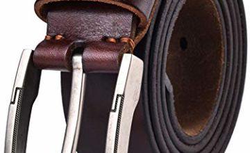 Alice & Elmer Men's Belt Genuine Full Grain Leather Belts With Classic Buckle For Men Jeans Dress Casual Work Duty (Waist 34'', Coffee)