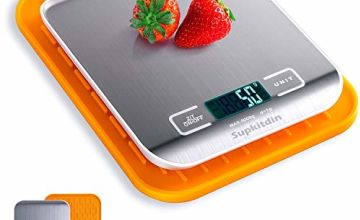 Supkitdin Digital Kitchen Weighing Scales, Premium Stainless Steel Cooking Scales, Upgraded Design Food Scales, LCD Display, Comes with Useful Silicone Mat (Silver)