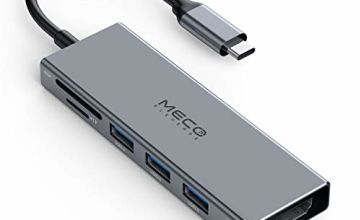 USB C Hub Adapter, MECO ELEVERDE 6 in 1 USB C Adapter with 4K USB C to HDMI, microSD and SD Card Reader, 3 USB 3.0 Ports for MacBook Pro/Air 2019/2018, XPS, Chromebook and More Type C Devices