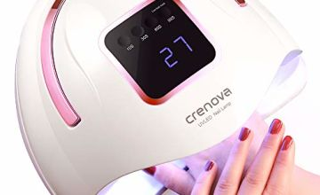 Crenova UV LED Nail Lamp, 72W 36 LEDs Professional Nail Dryer with Auto Sensor & 4 Timers (10/30/60/99S) for Easy & Fast Salon-Style Nail Art At Home