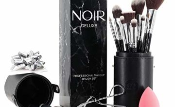 Noir Deluxe Make up Brush Set: Professional Make Up Brushes with Beauty Blender and Eyelash Curler in Makeup Brush Holder and Gift Box (Silver)