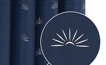 Deconovo Eyelet Blackout Curtains with foil Print Sun Rise Patterns 46x54in,46x72in,46x90in,55x69in,55x96in,55x70in,55x94in