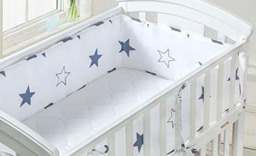 Luchild Baby Cot Bumper, Crib Bumper Wrap Around Protection 100% Cotton Crib Bumpers Bedding