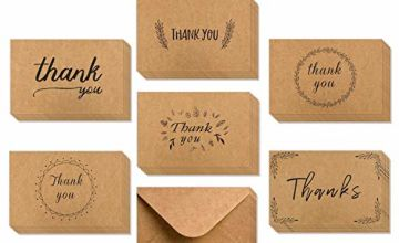 Thank You Cards Multipack, Ohuhu 36 Pack Brown Kraft Paper Thank You Cards Thank U Greeting Card W/ 36 Kraft Paper Envelopes for Wedding, Graduation, 10X15 cm