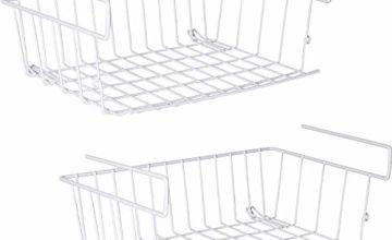 Under Shelf Storage Basket, m zimoon Under Cabinet Hanging Metal Wire Storage Wire Basket Organizer Fit Dual Hooks for Kitchen Pantry Desk Bookshelf Cupboard (2pcs, White)