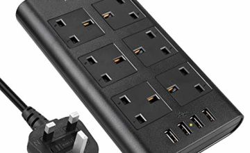 Surge Protected Extension Lead, AUOPLUS 6 Gang Power Strip with 4 USB Port, Multi Plug Charging Station Compatible with iPhones/Tablet/Laptops, Power Extension for Home & Office - 2 Meter Cord - Black