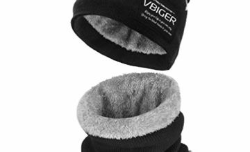 VBIGER Kids Warm Knitted Beanie Hat and Circle Scarf Set (Coffee)
