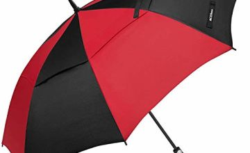 ACEIken Golf Umbrella Windproof Large 62 Inch, Double Canopy Vented, Automatic Open, Extra Large Oversized,Sun Protection Ultra Rain & Wind Resistant Stick Umbrellas, Red/Black