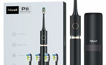 Whitening Sonic Toothbrush,Electric Toothbrush for Adults Rechargeable with 62,000 Vibration Turbo Clean, 4 Replacement Heads & 1 Travel Case Black Fairywill P11 Plus