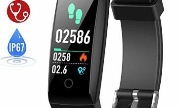 HETP Fitness Tracker, Heart Rate Fitness Wristband Smart Watch Waterproof IP67 Activity Tracker Blood Pressure Smart Bracelet with Stopwatch Sport GPS Pedometer Step Calorie Counter Women Men
