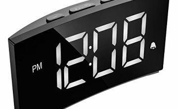 "PICTEK LED Digital Alarm Clock, Bedside Clock with 5"" Curved Screen, 6 Brightness Dimmer, Big White Digital Display, Snooze, Optional Alarm Sounds and Volume, Mains Powered (Adapter not Included)"