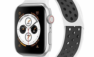 VIKATech Sport Strap Compatible with Apple Watch Strap 44mm 42mm 40mm 38mm, Breathable Waterproof Soft Silicone Replacement for iwatch Series 5/4/3/2/1, S/M M/L